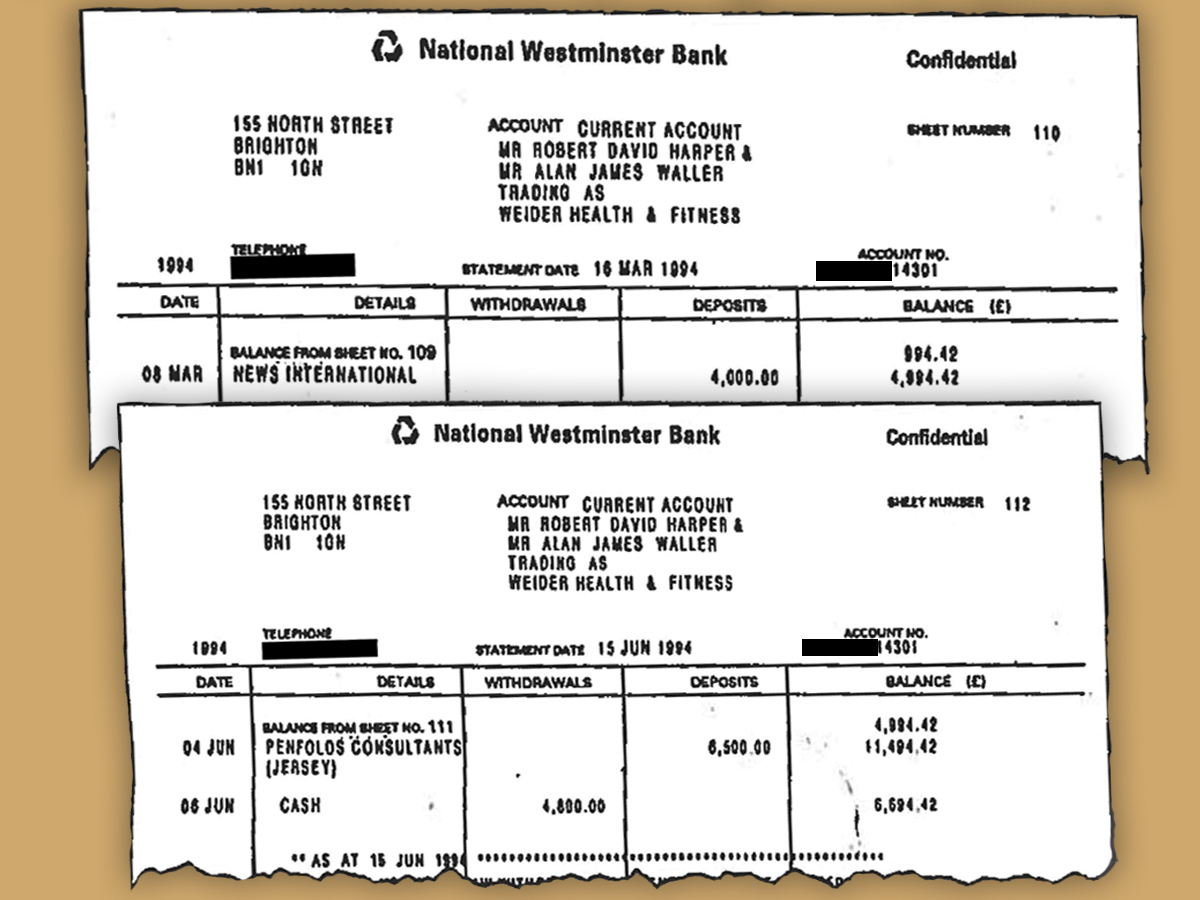 The fake bank statements relating to News International and Penfold Consultants (Jersey)