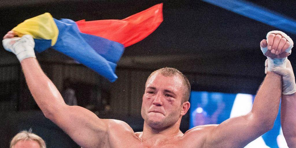Nistor celebrates winning a APB super heavyweight championship bout in 2015