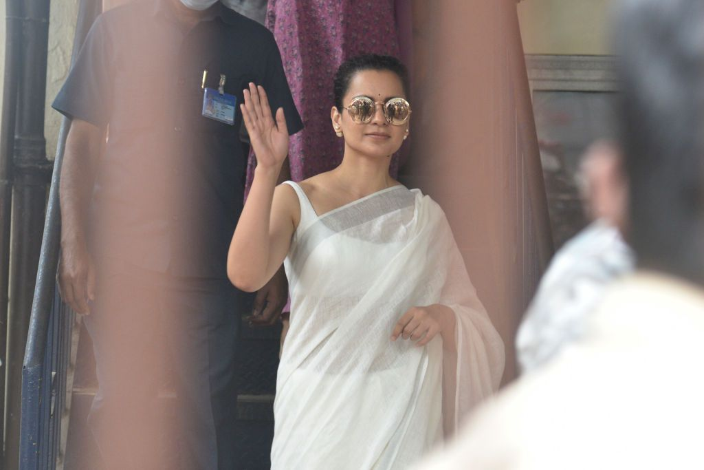 Actor Kangana Ranaut arrives at Bandra police station to record her statement in a sedition case filed against her, on January 8, 2021 in Mumbai, India