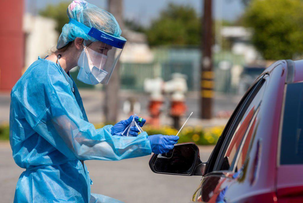 Drive-through testing centre in California