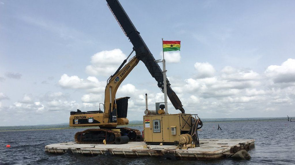 Kete Krachi's machinery used to extract wood from Lake Volta.