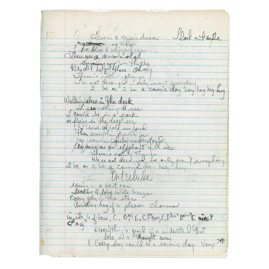 Lyrics for Cosmic Dream