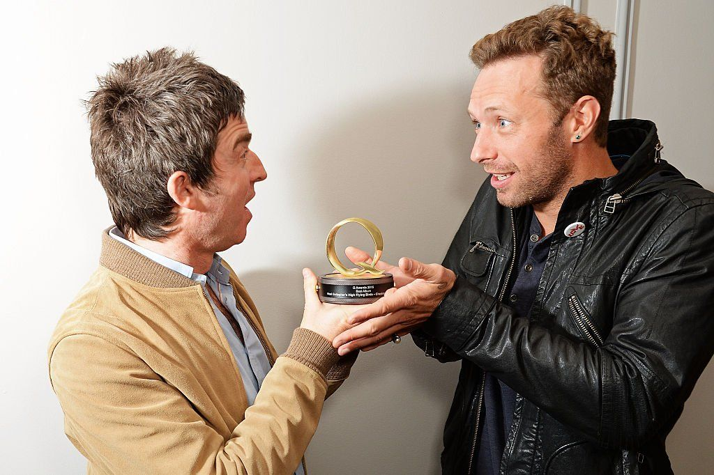 Noel Gallagher and Chris Martin at the Q Awards 2017
