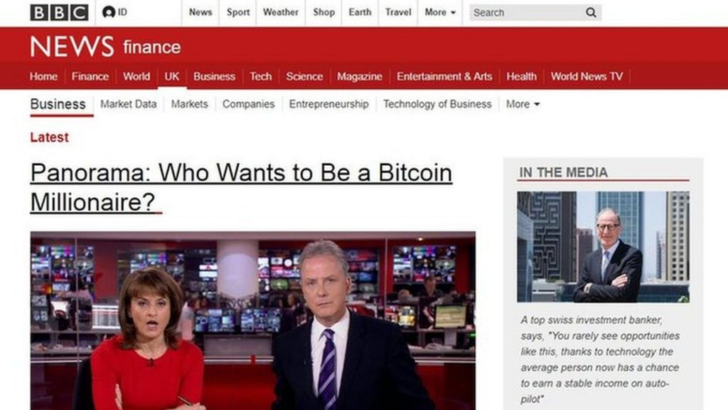 bbc.co.uk - Fake BBC News page used to promote Bitcoin-themed scheme