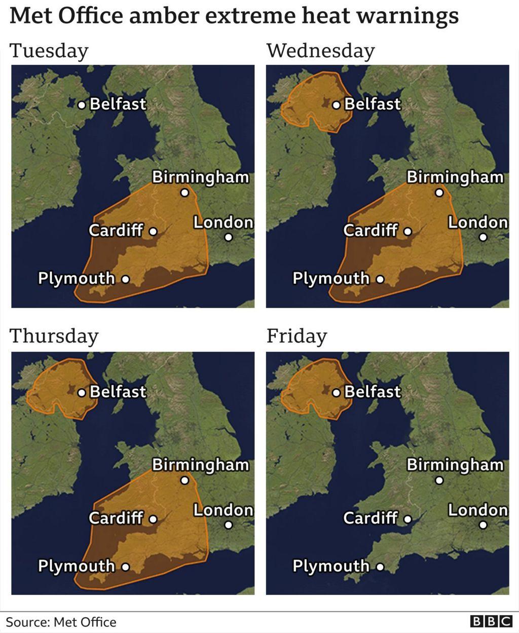 graphic showing heat warnings