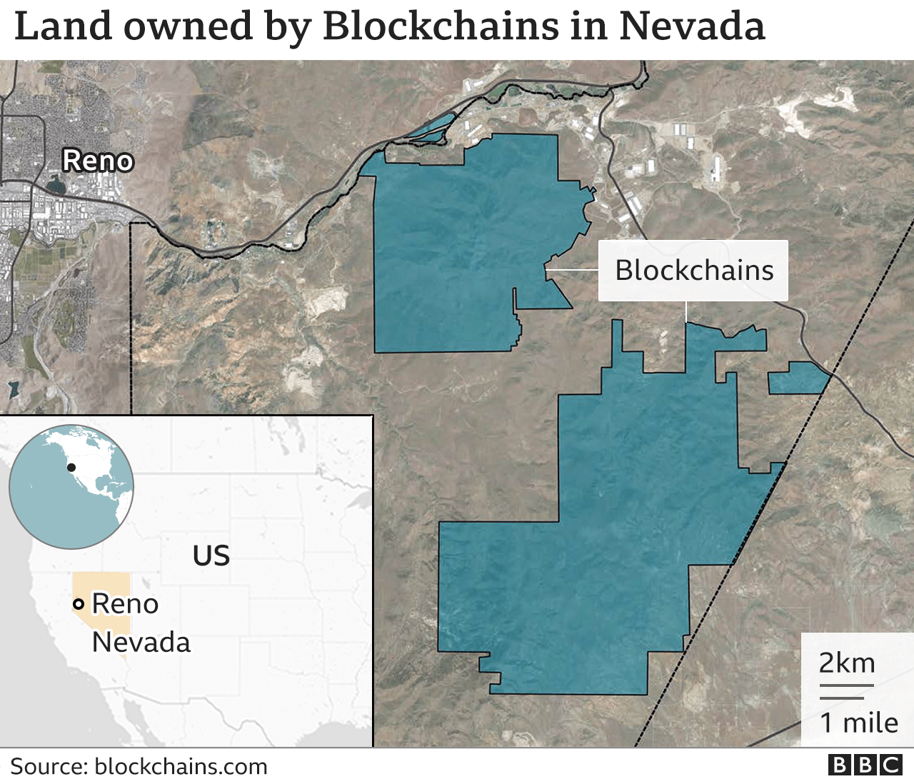 A graphic showing the land owned by Blockchains in Nevada