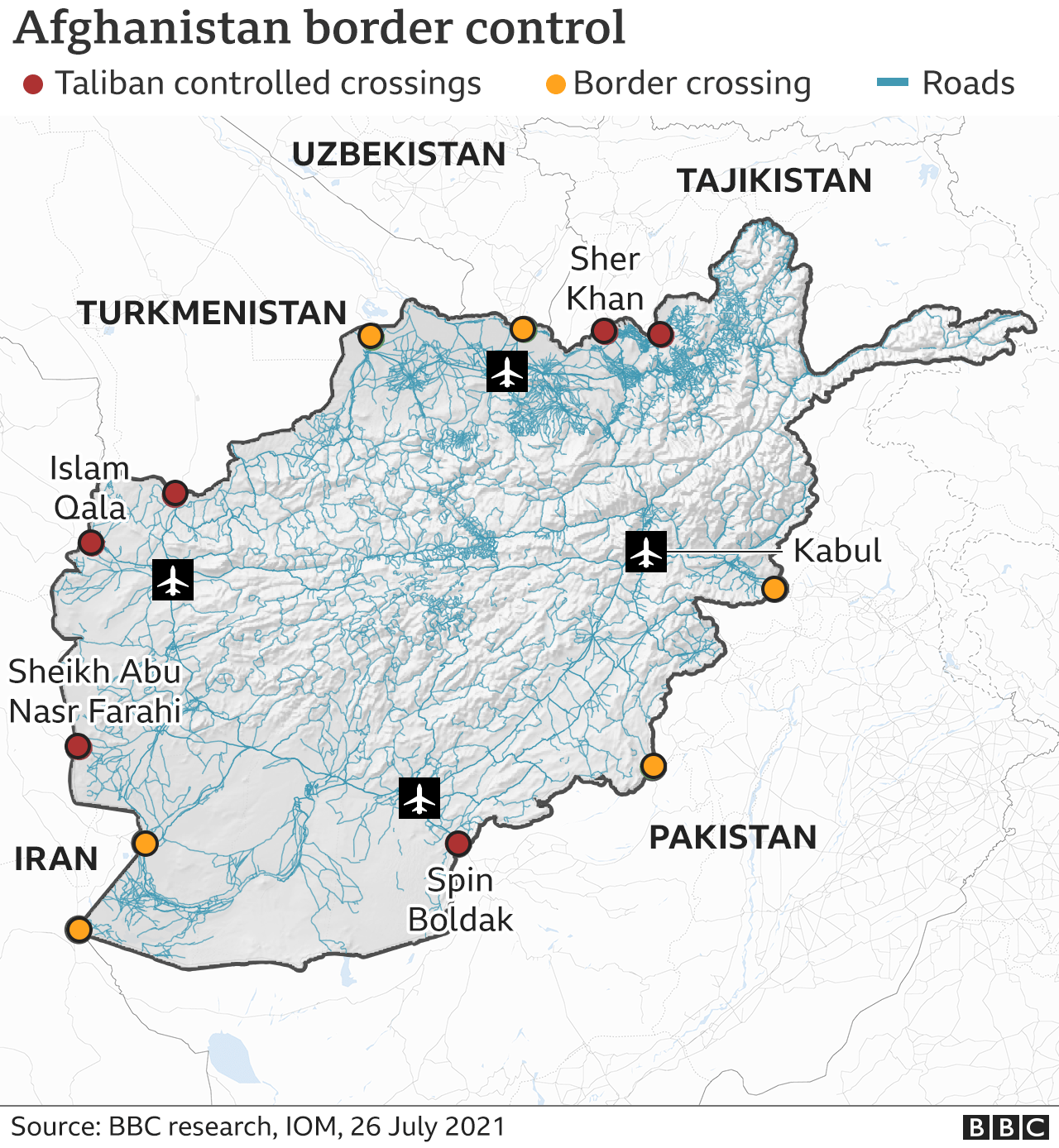 Map showing border crossings and checkpoints taken by Taliban
