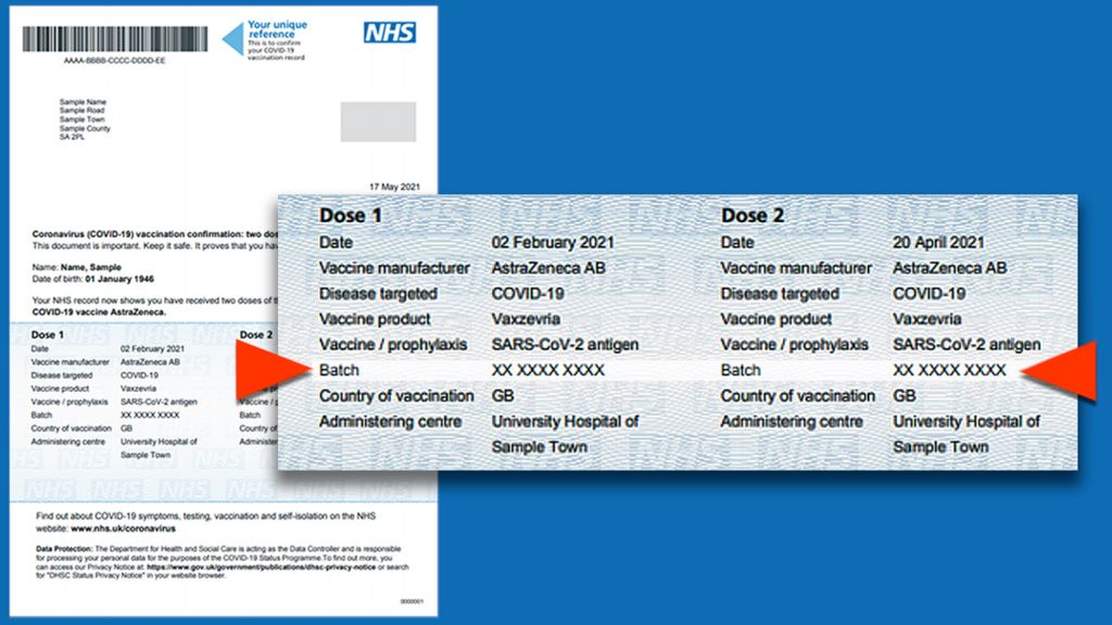 NHS Covid Pass letter example