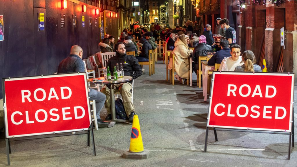 Dining outside, Canal St, Manchester, April 2021