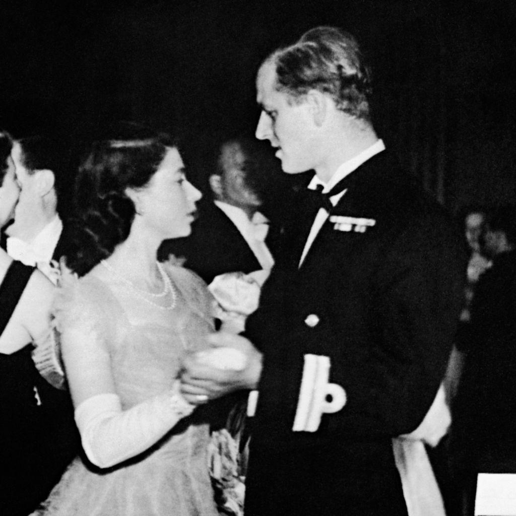 Princess Elizabeth dances with fiance Lieutenant Philip Mountbatten, Edinburgh, 1947
