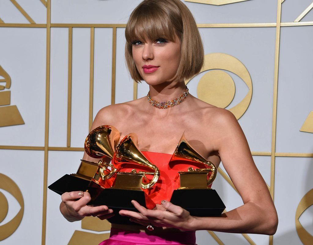 Taylor Swift with her Grammys