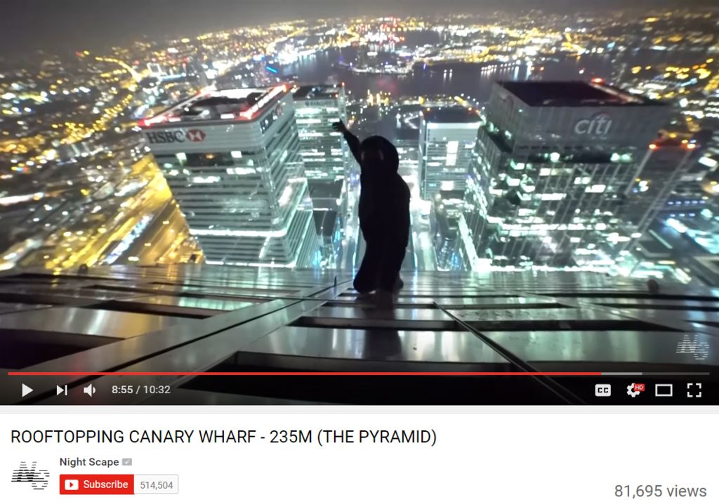 "Still from ""rooftopping Canary Wharf"" video posted on YouTube by Night Scape"