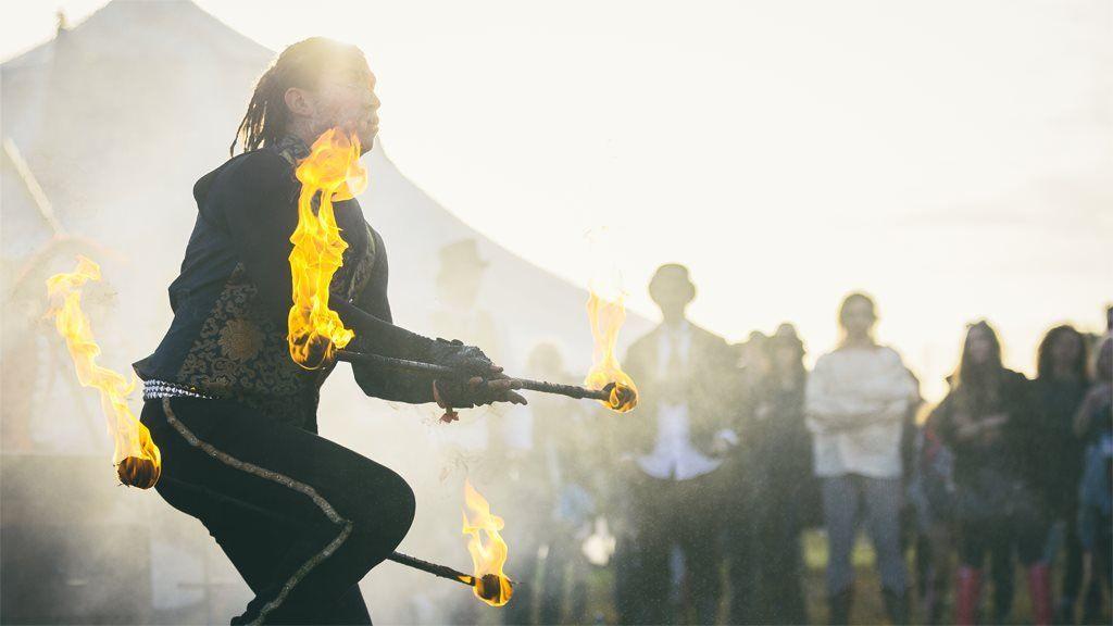 A fire juggler