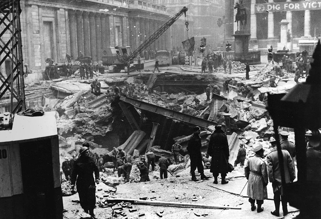 Bomb damage outside the Bank of England, January 1941