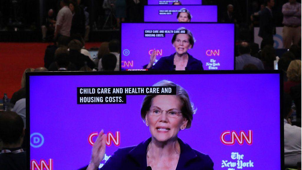 Elizabeth Warren on lots of screens