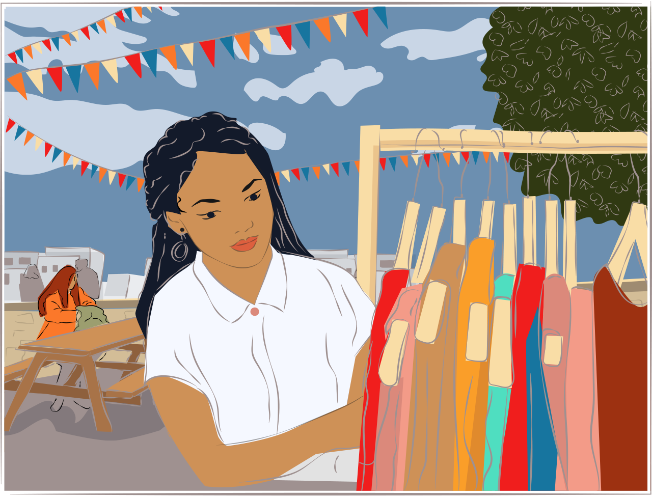Illustration of a woman browsing in a market