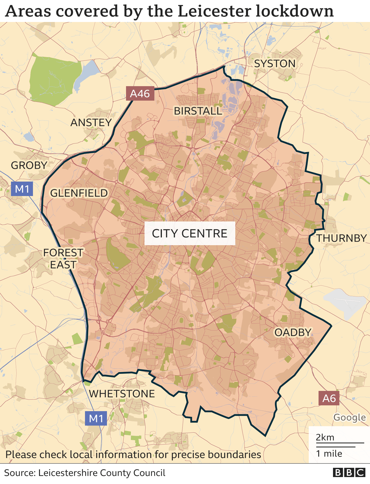 Map showing the area covered by the Leicester lockdown.