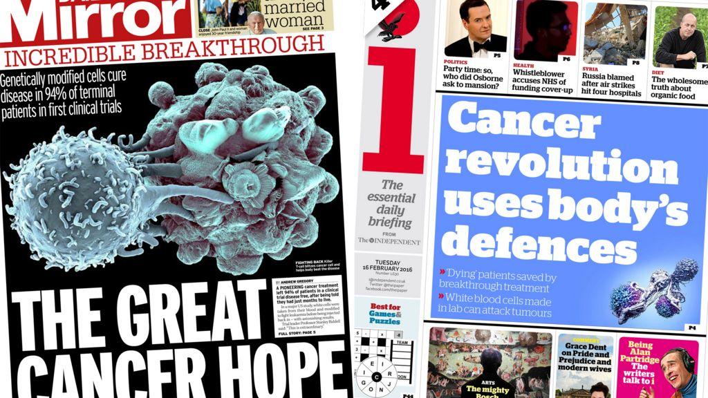 Newspaper headlines: Cancer 'cure' hope, Stephen Fry's 'bag