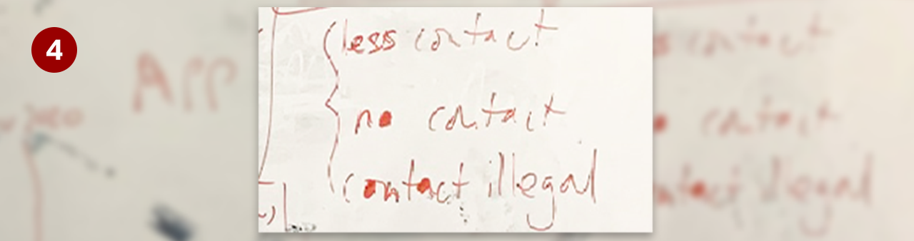 Whiteboard excerpt - less contact, no contact , contact illegal