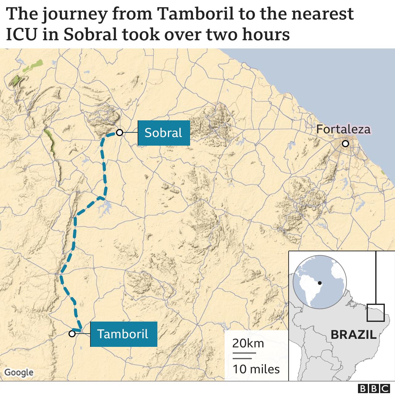 A viagem de Tamboril até a UTI mais próxima, em Sobral, demorou mais de duas horas