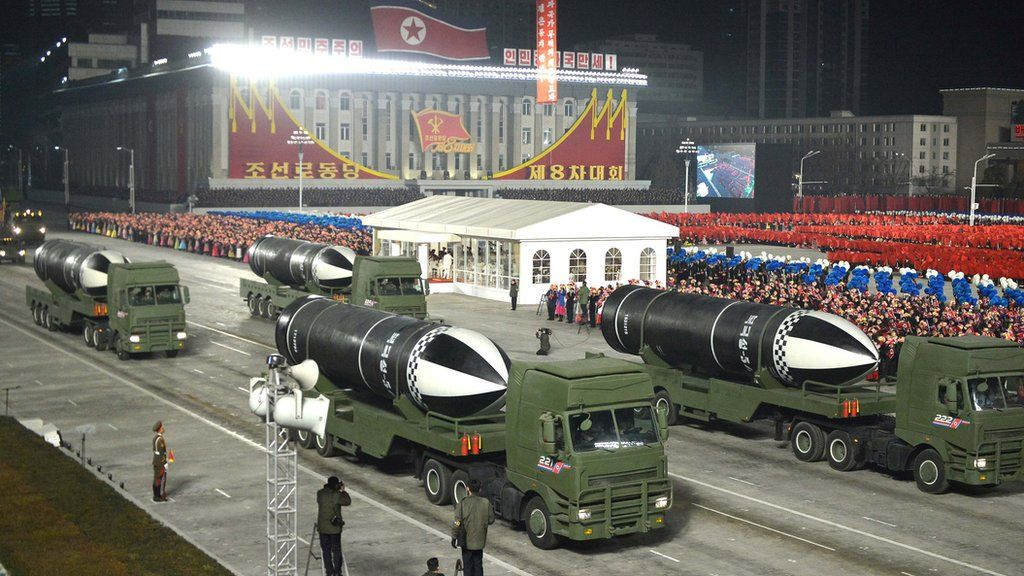 "Military equipment is seen during a military parade to commemorate the 8th Congress of the Workers' Party in Pyongyang, North Korea January 14, 2021 in this photo supplied by North Korea""s Central News Agency (KCNA)."