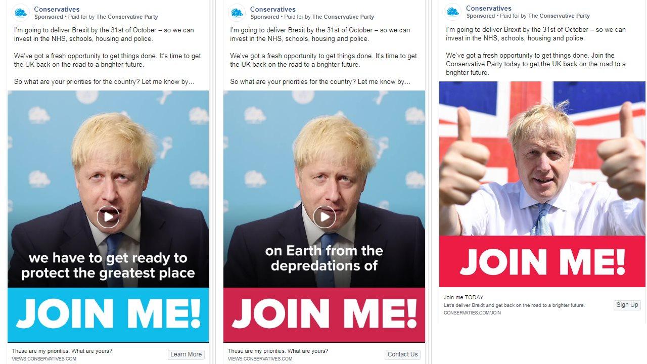 A variety of Boris Johnson ads
