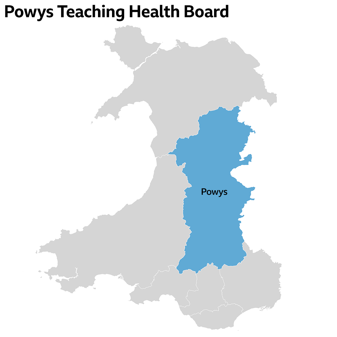 Powys Teaching Health Board area map