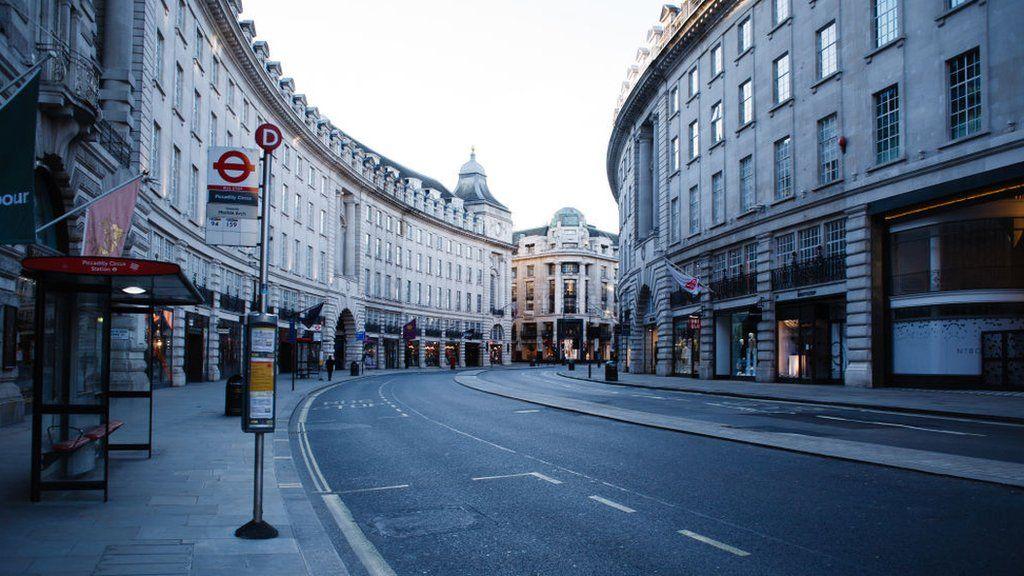 Near deserted Regent Street, London. April 4, 2020