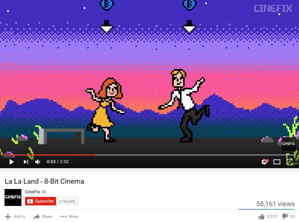 Screengrab of La La Land 8-bit uploaded by CineFix on YouTube