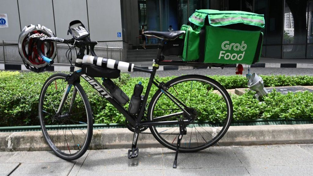 Grab bike parked in Singapore