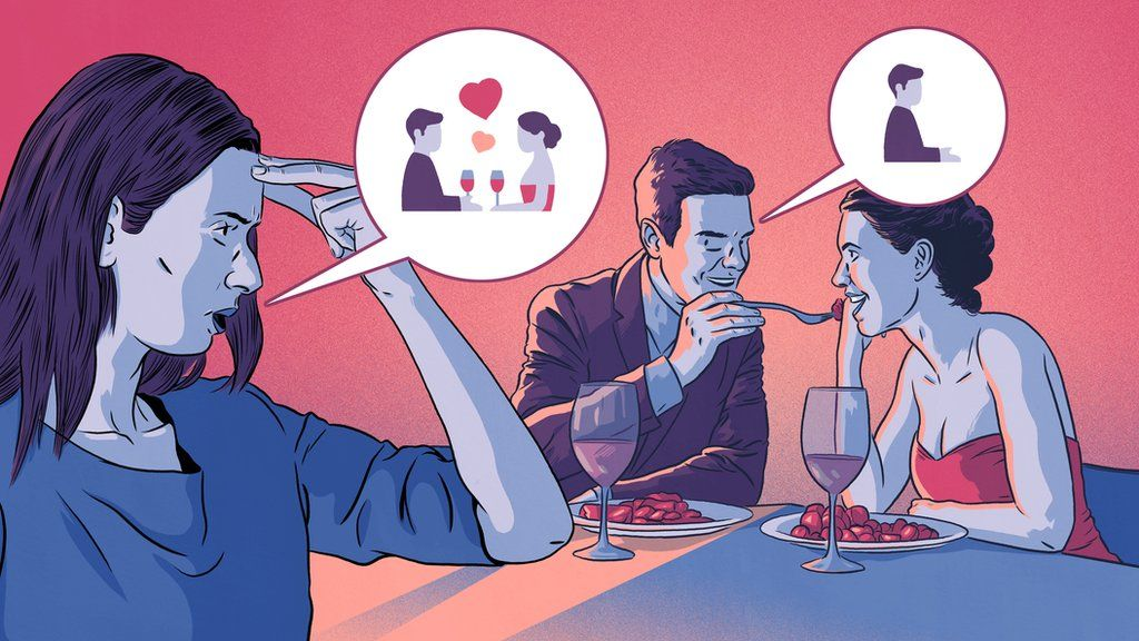 Illustration of a woman seeing her boyfriend on a date with another woman