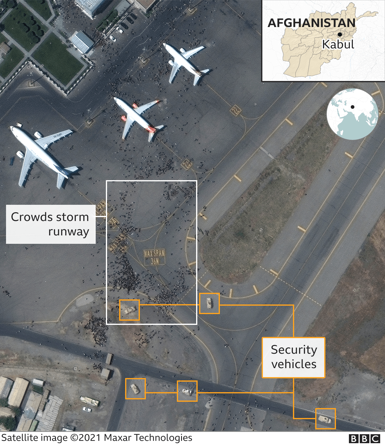 Satellite image showing crowds on the tarmac at Kabul airport