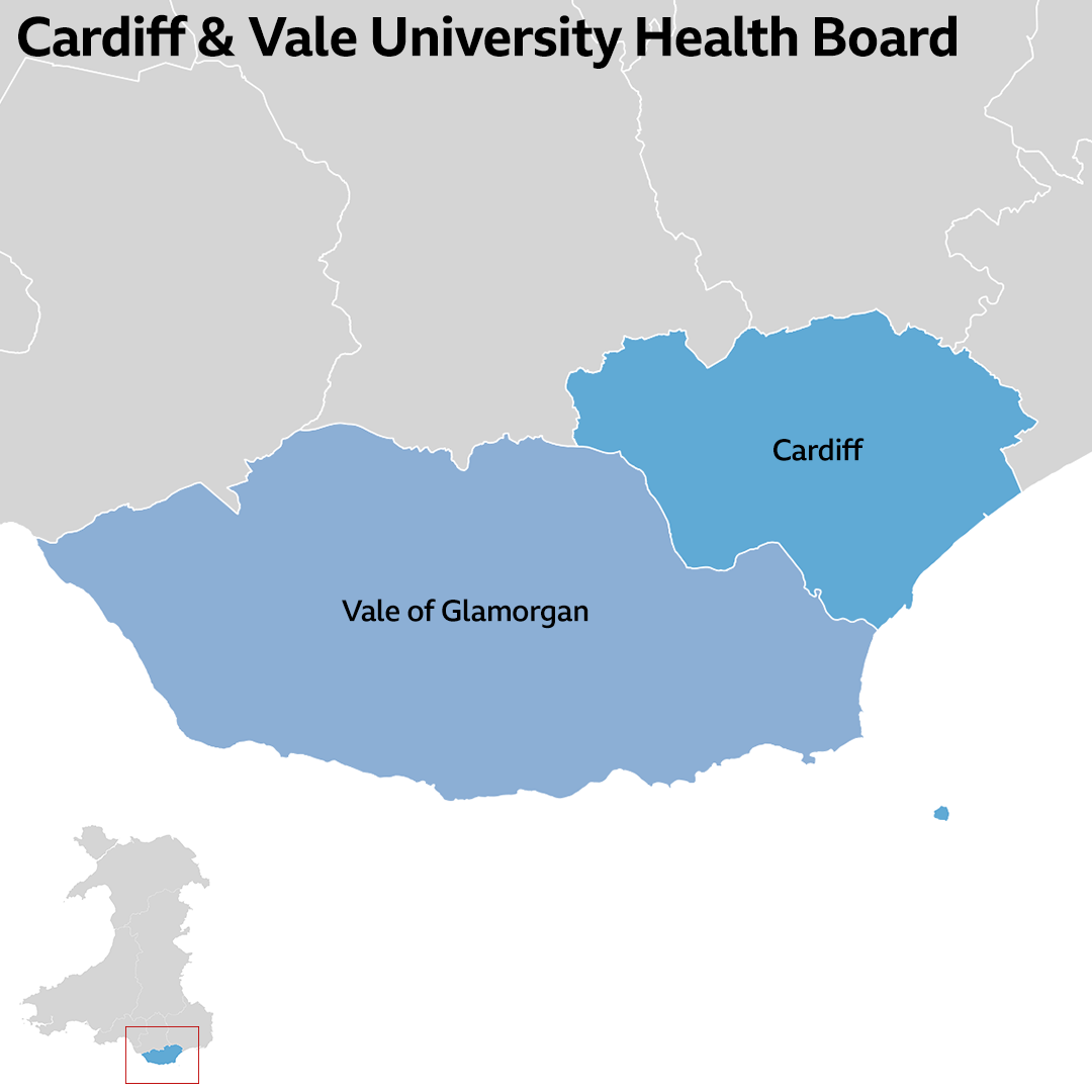 Cardiff and Vale University Health Board area map