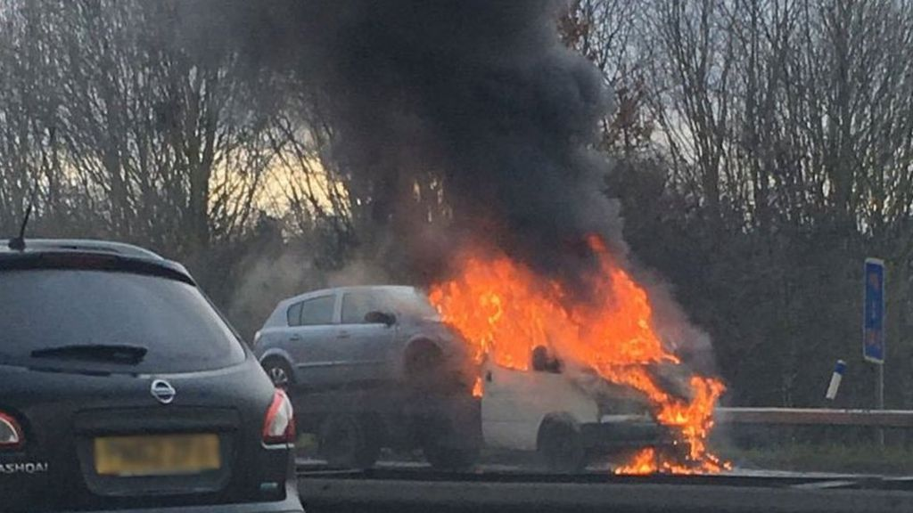 Recovery truck engulfed in flames on M6