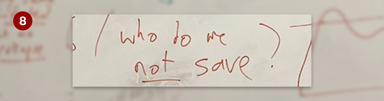 Whiteboard excerpt - Who not to save?