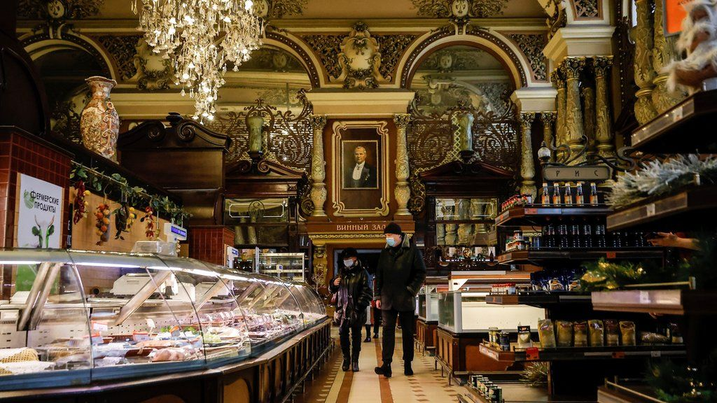 An interior view shows Yeliseyevsky Store in central Moscow, Russia April 2, 2021