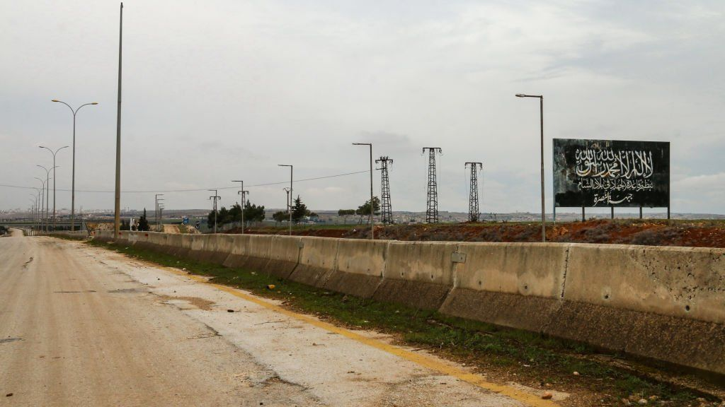 Empty section of the crucial M5 highway which connects the northern Syrian city of Aleppo with the capital Damasacus