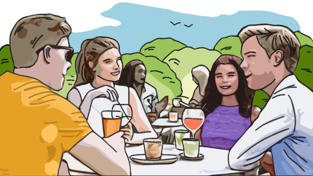 People drinking in a pub garden