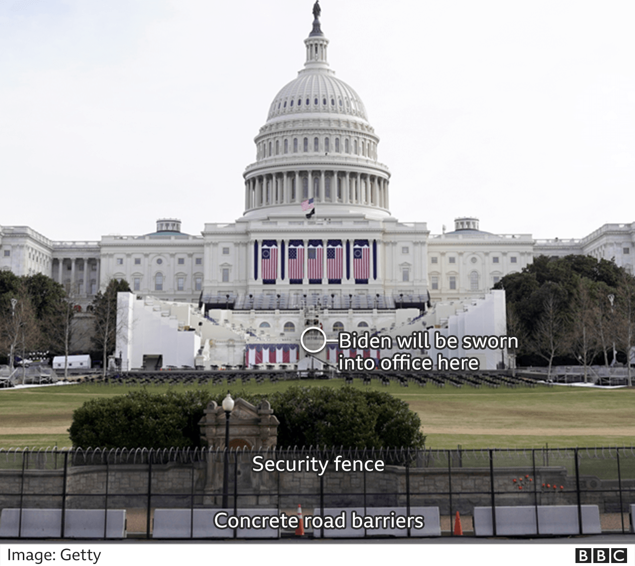 Graphic showing the spot where Mr Biden will be sworn in and where the security fencing has been erected