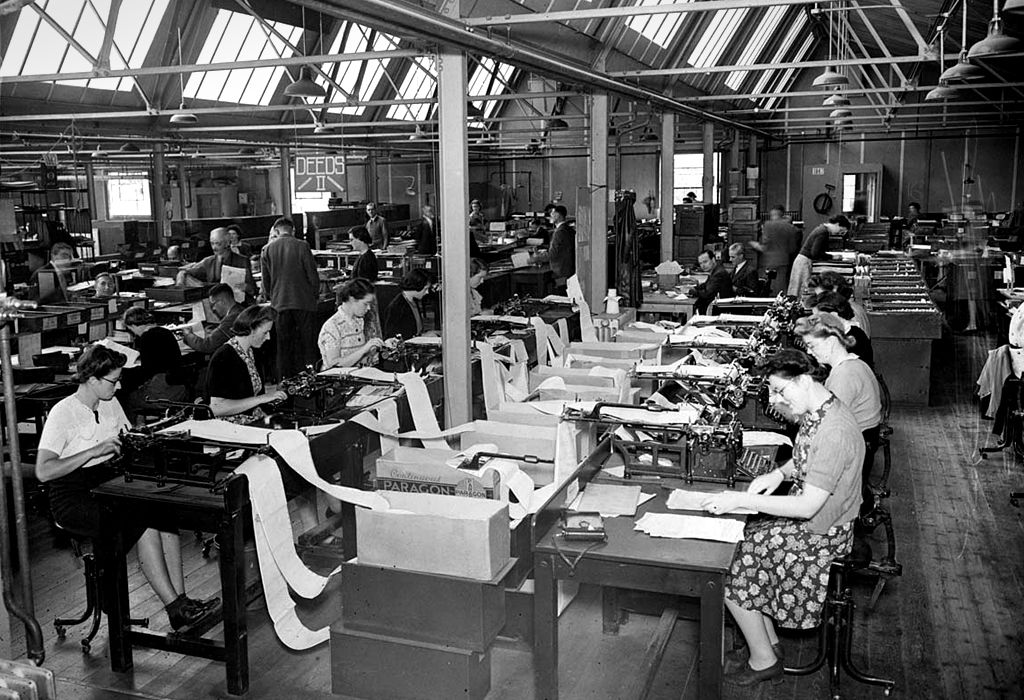Typing office during the Bank of England's evacuation to Hampshire during WW2
