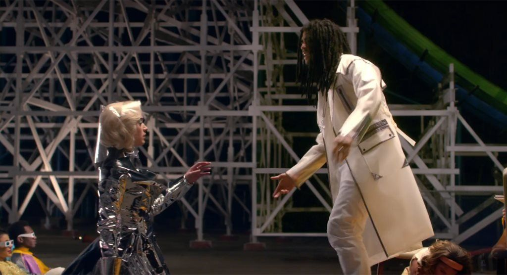 Katy Perry and Skip Marley in the video for Chained to the Rhythm