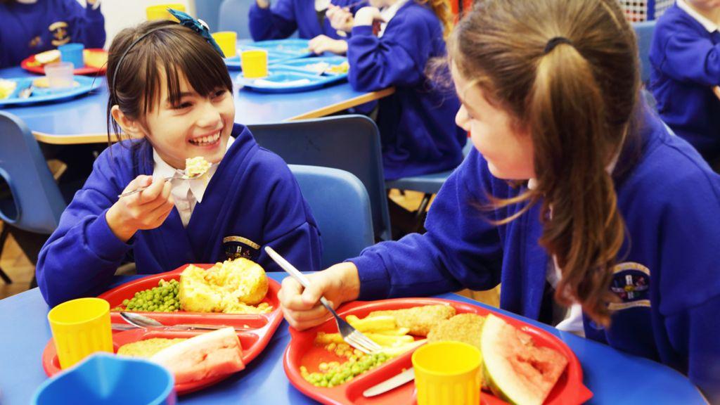 Primary school girls enjoying lunch