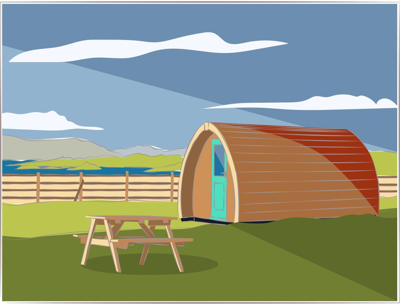 Illustration of a remote cabin