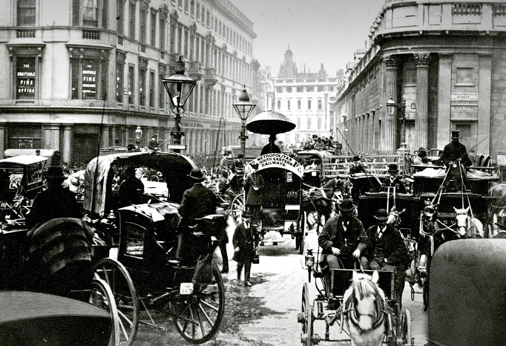 Princes Street, London - with Bank of England on the right, 1890s