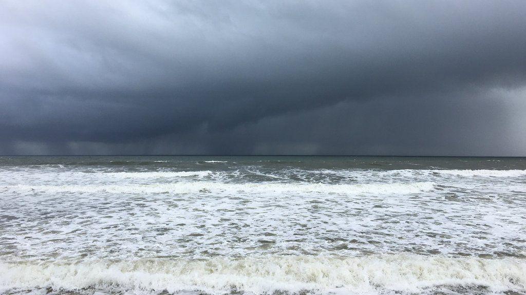 Stormy shoreline in Brora, near Sutherland.