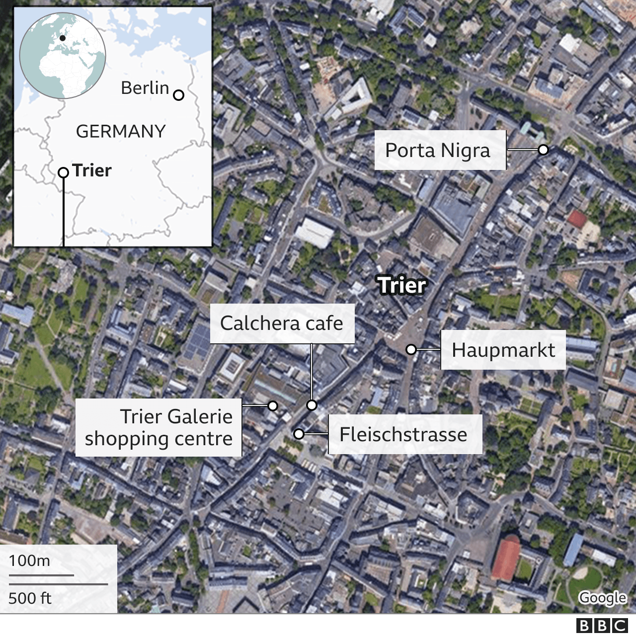 Location of the incident in Trier