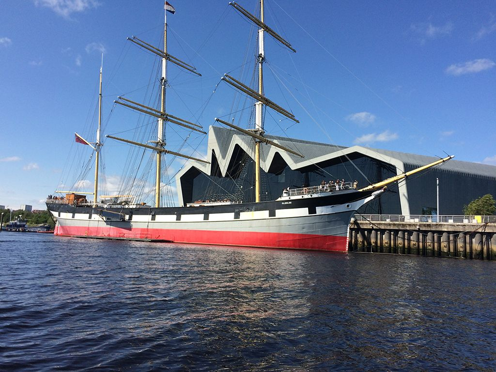 Glen Lee tall ship and Glasgow's Riverside Museum
