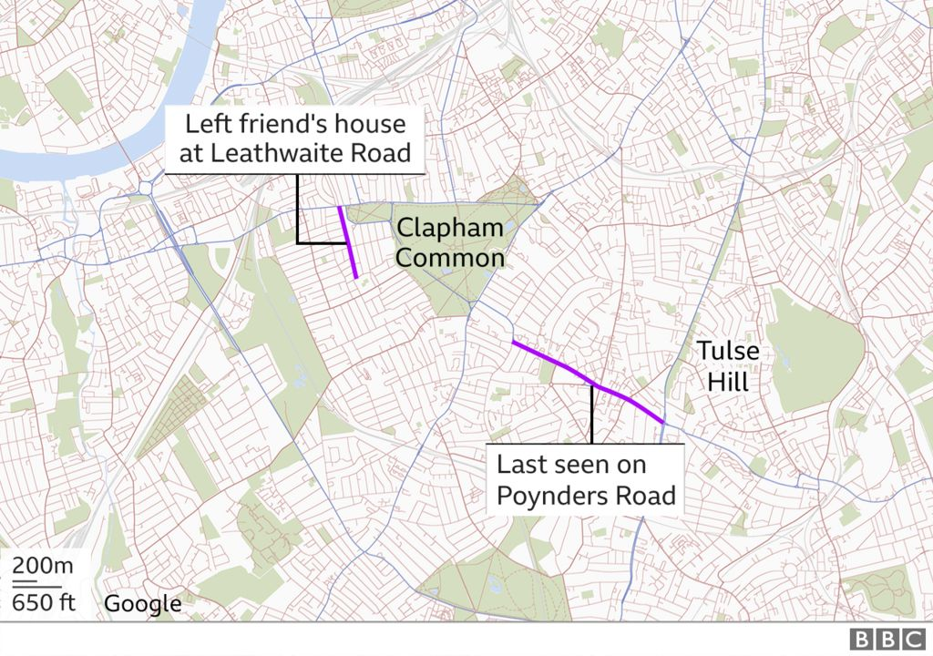 Graphic of a map of the area where Ms Everard was last seen