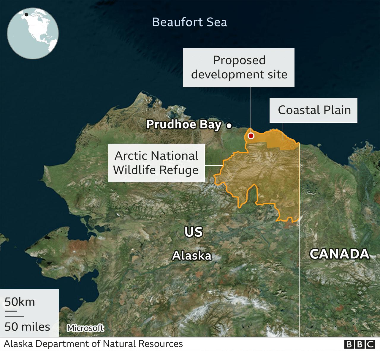 Map showing Arctic National Wildlife Refuge in Alaska