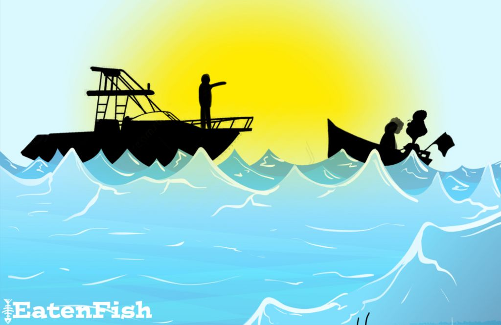 Drawing showing fishing boat of asylum seekers, including Ali Dorani, being directed by the Australian navy